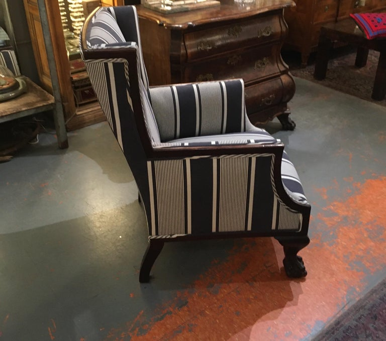 Antique Lion Paw Armchair in French Stripe Fabric For Sale 3