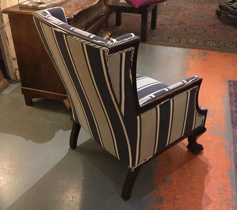 Antique Lion Paw Armchair in French Stripe Fabric For Sale 4