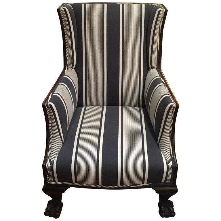 Antique Lion Paw Armchair In French Stripe Fabric For Sale