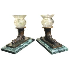 Antique Lions Bronze Marble Glas France Pair of Rhytons