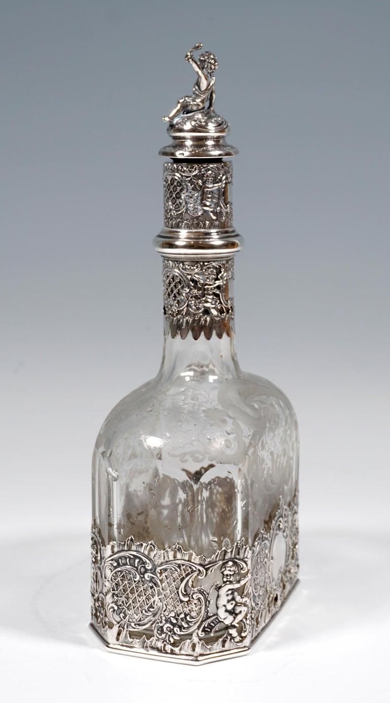 Art Nouveau Antique Liquor Bottle with Rich Decoration and Silver Mount, France, around 1890 For Sale