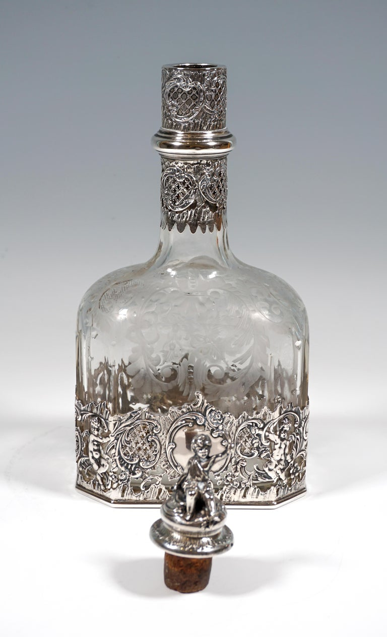 French Antique Liquor Bottle with Rich Decoration and Silver Mount, France, around 1890 For Sale