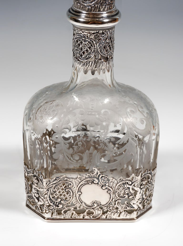 Hand-Crafted Antique Liquor Bottle with Rich Decoration and Silver Mount, France, around 1890 For Sale