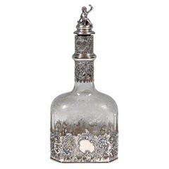 Antique Liquor Bottle with Rich Decoration and Silver Mount, France, around 1890