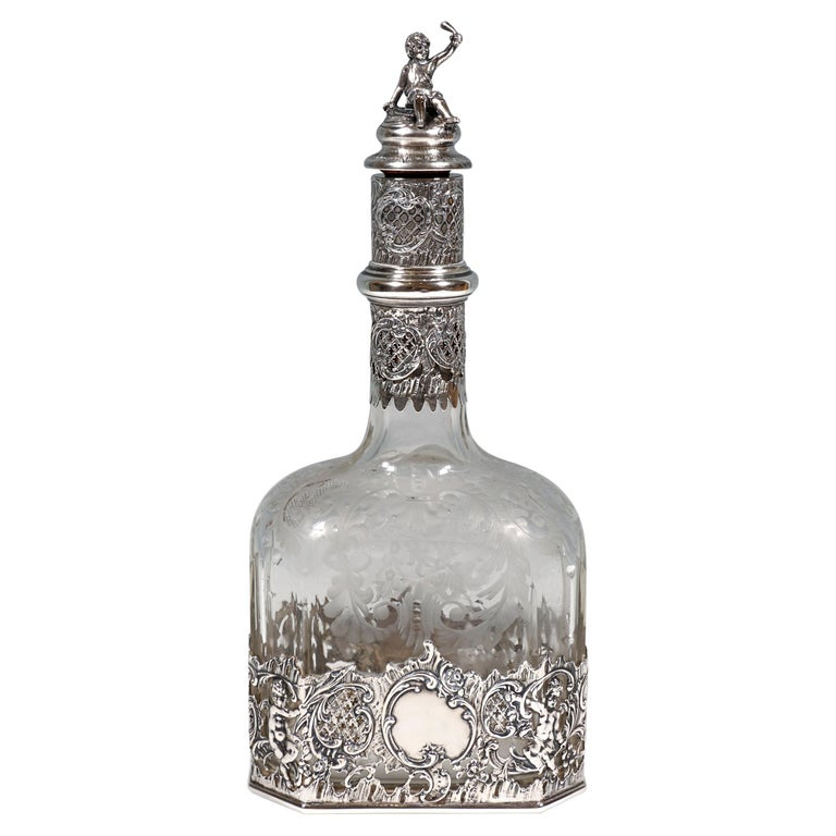 Antique Liquor Bottle with Rich Decoration and Silver Mount, France, around 1890 For Sale