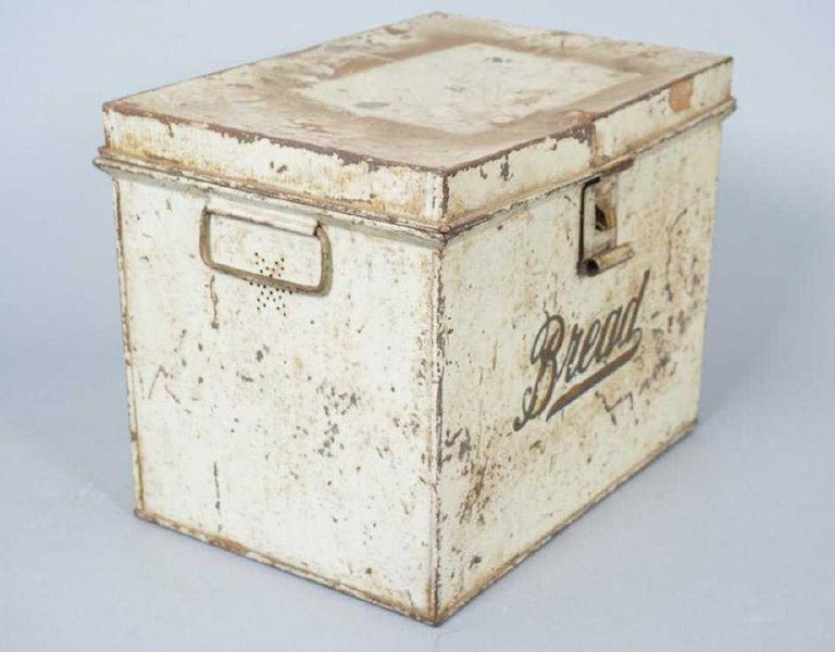 Antique lithographed tin storage box for bread or bake goods. Top opening, having handles and pierced holes on either side. Measures: 10.5 inches x 13.5 inches x 9.5 inches.
