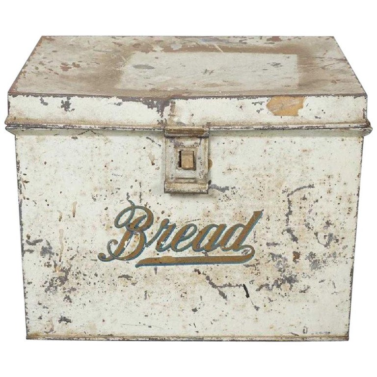 Antique Lithographed Tin Bread Box For Sale