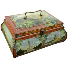 Antique Lithographic Tin with Handle and German Places, Germany, Art Nouveau