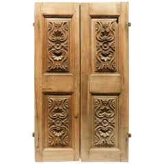 Antique Little Double Doors in Walnut, Carved Panels, 18th Century, Italy