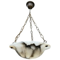 Antique Little White Alabaster Pendant Ceiling Lamp with a Brass Chain & Canopy