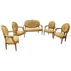 Antique Living Room, Four Armchairs and Sofa, Gilded Wood, 19th Century, France