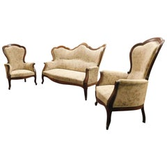 Antique Living Room Set, Sofa and Two Armchairs, 19th Century, Italy