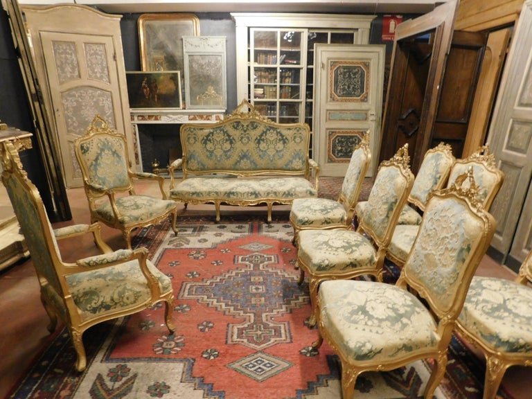 Antique Living Room Set Sofas, Armchairs and Benches, Light Blue Brocade,  Gold