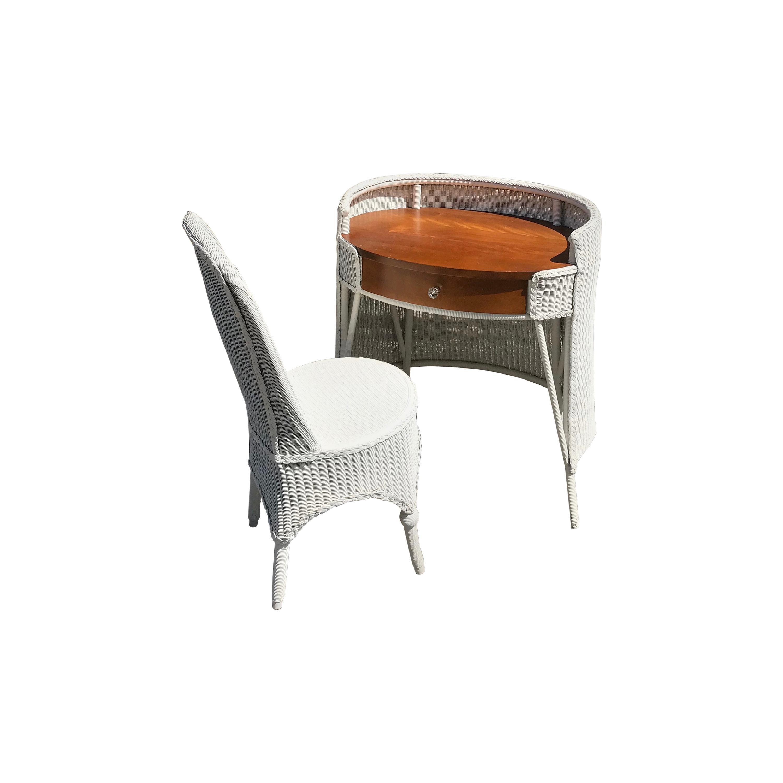 Antique Lloyd Loom Desk and Chair