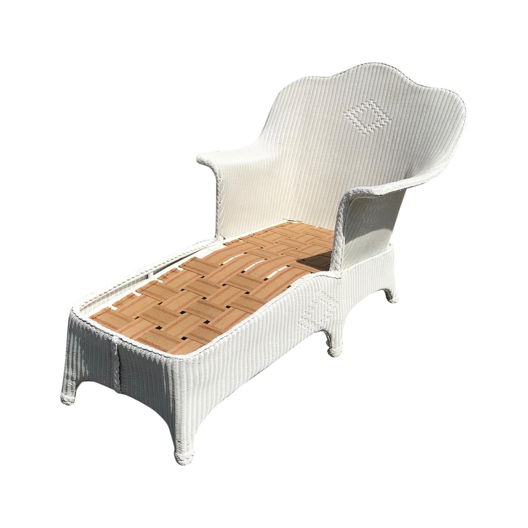 Antique Lloyd Loom Wicker Chaise