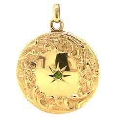 Antique Locket Round Gold Tsavorite