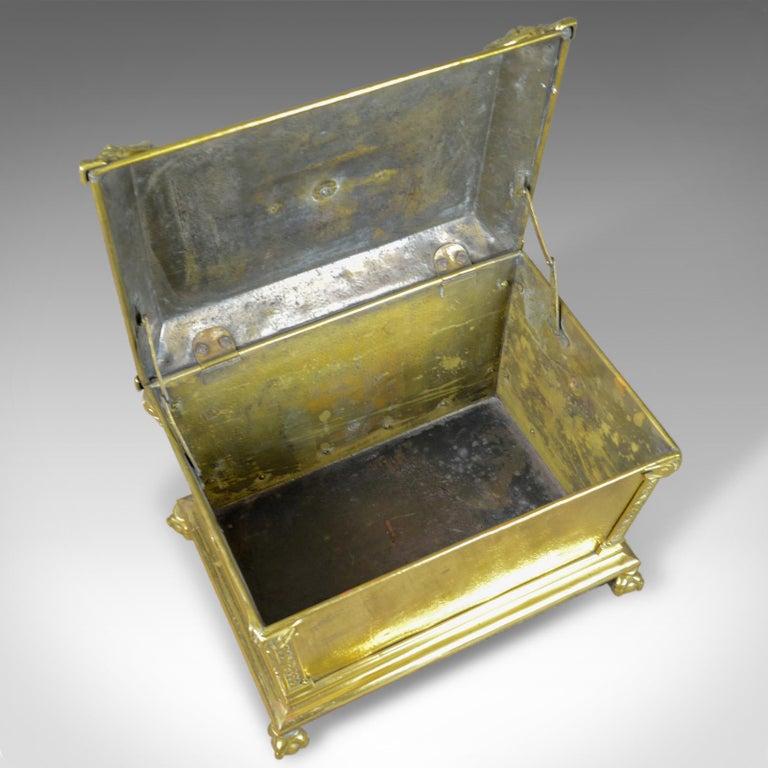 Antique Log Bin Brass Fireside Storage Box Victorian