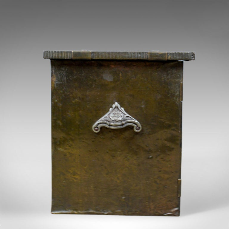 Arts and Crafts Antique Log Bin, Edwardian, Bound Metal, Fireside Box, Arts & Crafts, circa 1910 For Sale