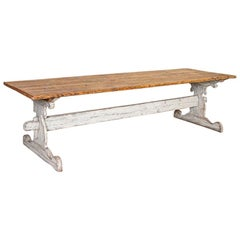 Antique Long Farm Table with White Painted Trestle Base from Sweden