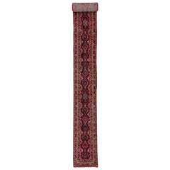 Antique Long and Narrow Red Persian Sarouk Runner Rug, Dark Red Field, High Pile