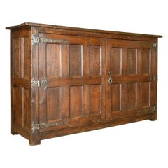 Antique Long Cupboard, Large Heavy Early English Oak Paneled