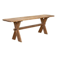 Antique Long Narrow Trestle Dining Table Primitive Farmhouse Table from Sweden