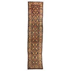 Antique Long Navy Blue Gold Brown Northwest Persian Runner Rug c. 1880-1900