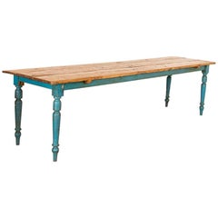 Antique Long Original Blue Painted Farm Table Dining Table from Sweden