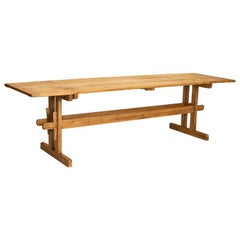 Antique Long Pine Farm Trestle Table