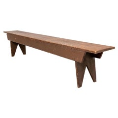 Antique Long Wooden Bench in Old Brown Paint