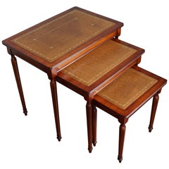 Antique Look Mahogany Louis Seize Style Nest of Three Tables with Leather Inlay