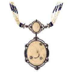 Antique Looking Cameo Necklace with MOP and Sapphire Beads and Diamonds