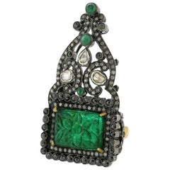 Antique Looking Carved Emerald Ring with Black and White Diamonds