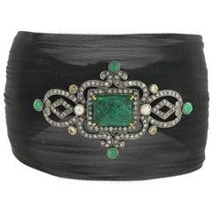 Antique Looking Diamond and Emerald Motif on Black Mesh Cuff Bracelet