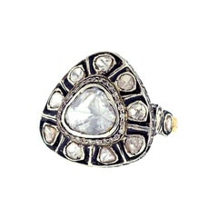 Antique Looking Trillion Shape Rose Cut Diamond Ring in Gold and Silver