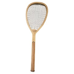 Antique Lop Sided Lawn Tennis Racket, Tear Drop Shape