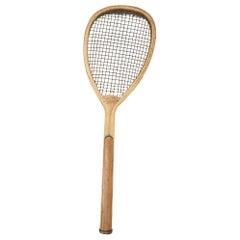 Antique Lop Sided Lawn Tennis Racket, Tear Drop, Tilt-Top Shape