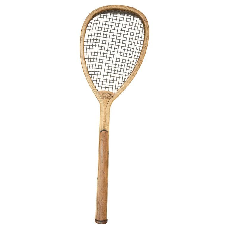 Antique Lop Sided Lawn Tennis Racket, Tear Drop, Tilt-Top Shape For Sale