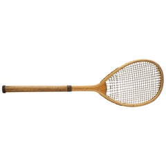 Antique Lopsided Henry Malings Tennis Racket, 19th Century