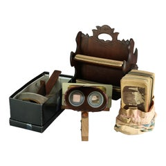 Antique Lot of Victorian Stereo Viewers, Cards & Walnut Card Stand, Circa 1890