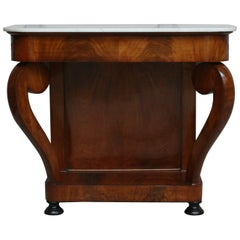 Antique Louis Philippe Mahogany and White Marble Console Table, Shellac Polished