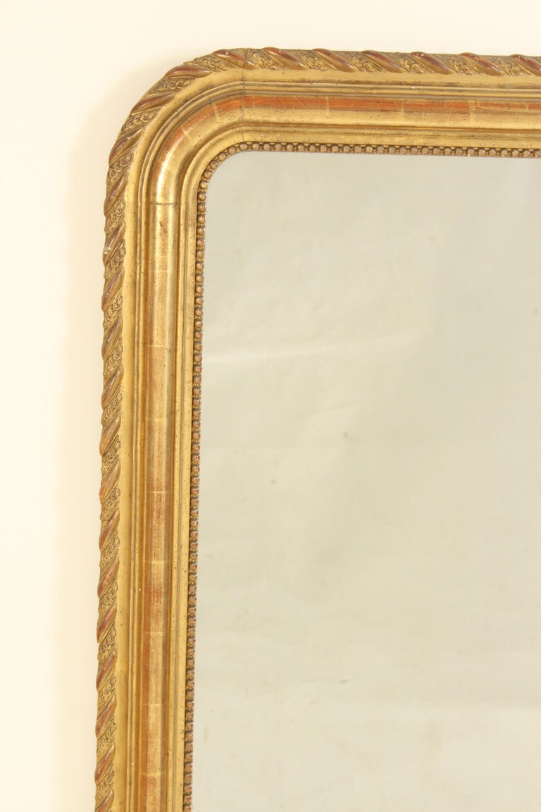 European Antique Louis Philippe Style Gilt Wood Mirror For Sale