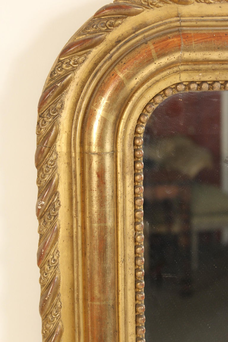 Antique Louis Philippe Style Gilt Wood Mirror In Good Condition For Sale In Laguna Beach, CA