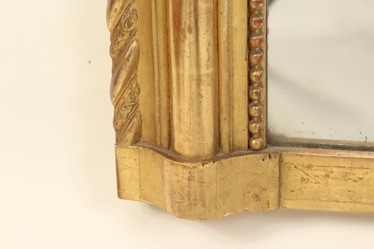 Gesso Antique Louis Philippe Style Gilt Wood Mirror For Sale