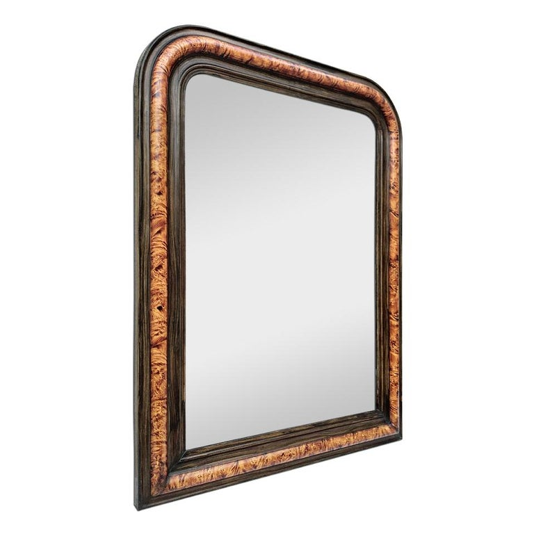 Antique French mirror, Louis Philippe style, circa 1880. Hand painted antique frame, faux burl wood and faux ebony wood (frame width: 9.5 cm / 3.74 in.) Modern glass mirror.