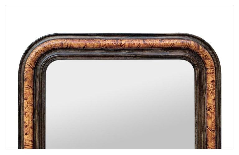 Louis Philippe Antique Louis-Philippe Style Mirror, Faux Burl Wood, circa 1880 For Sale
