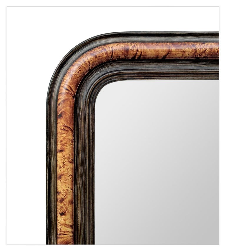 French Antique Louis-Philippe Style Mirror, Faux Burl Wood, circa 1880 For Sale
