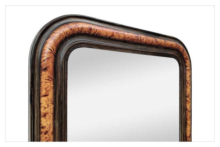 Antique Louis-Philippe Style Mirror, Faux Burl Wood, circa 1880 In Good Condition For Sale In Paris, FR