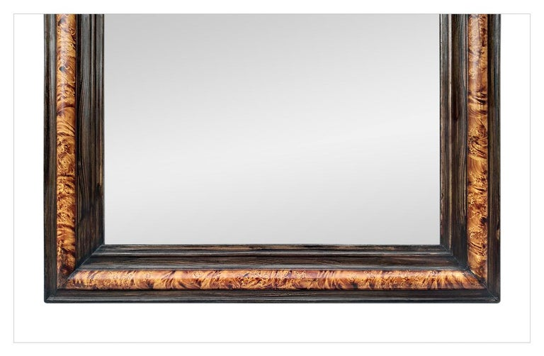 Late 19th Century Antique Louis-Philippe Style Mirror, Faux Burl Wood, circa 1880 For Sale