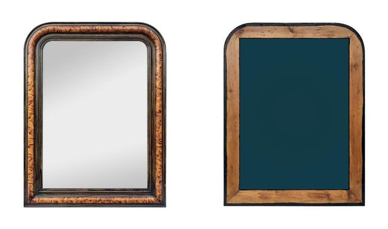 Paint Antique Louis-Philippe Style Mirror, Faux Burl Wood, circa 1880 For Sale